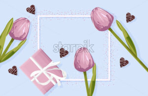 Spring rose gift box with rose tulip flowers. Hearts decorations. Place for text. Vector - Starpik Stock