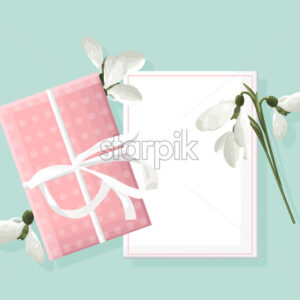 Spring rose gift box with white snowdrops. Place for text. Vector - Starpik Stock