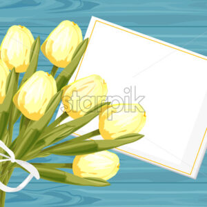 Spring rose gift box with yellow tulip flowers. Place for text. Vector - Starpik Stock