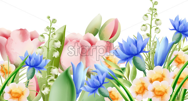 Spring watercolor bouquet of wild flowers. Bell, tulip, aster and daffodil. Vector - Starpik Stock