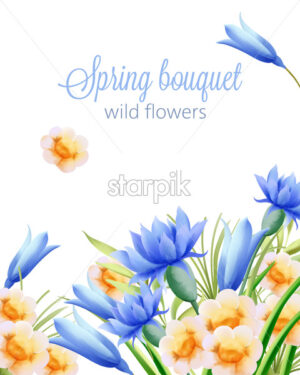 Spring watercolor bouquet of wild yellow and blue flowers. Vector - Starpik Stock