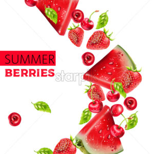 Summer berries composition with watermelon, cherry and strawberry. Place for text. Vector - Starpik Stock