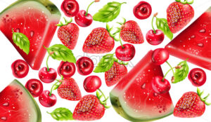 Summer berries composition with watermelon, cherry and strawberry. Vector - Starpik Stock