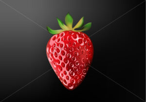 Three dimensional realistic strawberry with light reflecting. Black gradient background. Vector - Starpik Stock