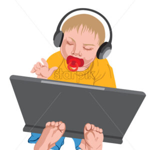 Toddler with headphones on his head playing with the laptop. Vector - Starpik Stock