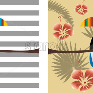 Toucan parrot bird with colorful beak. Tropical leaves composition with red flowers. Vector - Starpik Stock