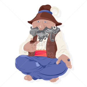 Traditional old man character with hat and gray beard smoking a pipe. Vector - Starpik Stock