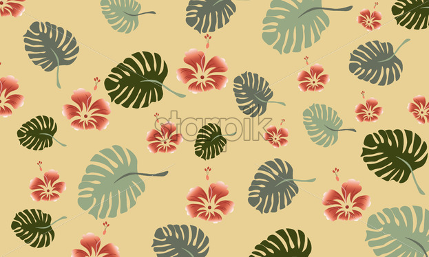 Tropical leaves composition with red flowers. Warm time. Vector - Starpik Stock