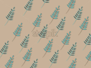 Turquoise tree leaves texture on beige background. Vector - Starpik Stock