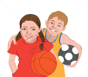 Two kids in sport clothes holding balls. Football, basketball. Vector - Starpik Stock