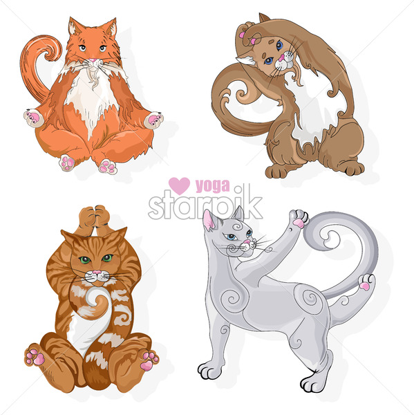 Various cat of different colors doing yoga poses. Vector set - Starpik Stock