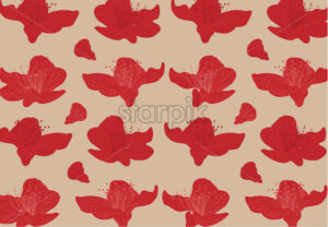 Vibrant red lily flowers on beige background. Vector - Starpik Stock