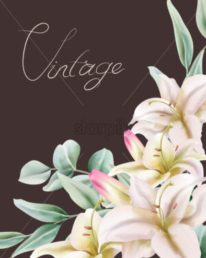 Vintage lily flowers with green leaves composition. Place for text. Vector - Starpik Stock
