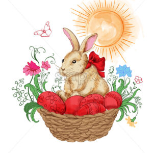 Watercolor bunny in a basket with red easter eggs. Flowers and sun shining on background. Vector - Starpik Stock