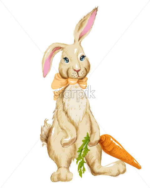 Watercolor fluffy bunny with bow tie holding big carrot. Spring easter idea. Vector - Starpik Stock