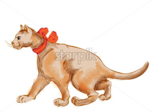 Watercolor ginger cat with red bow tie walking to the side. Vector - Starpik Stock