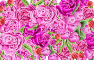 Watercolor raspberry and bright pink roses composition with green leaves. Vector - Starpik Stock