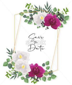 Wedding card with white and purple orchid flowers. Green leaves decorations. Vector - Starpik Stock