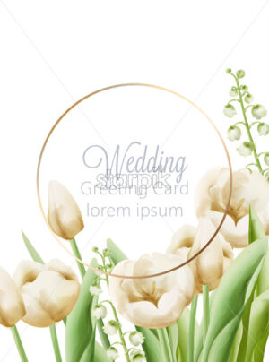 Wedding greeting card with cream buttercup and bell flowers with green leaves decoration. Watercolor Vector - Starpik Stock