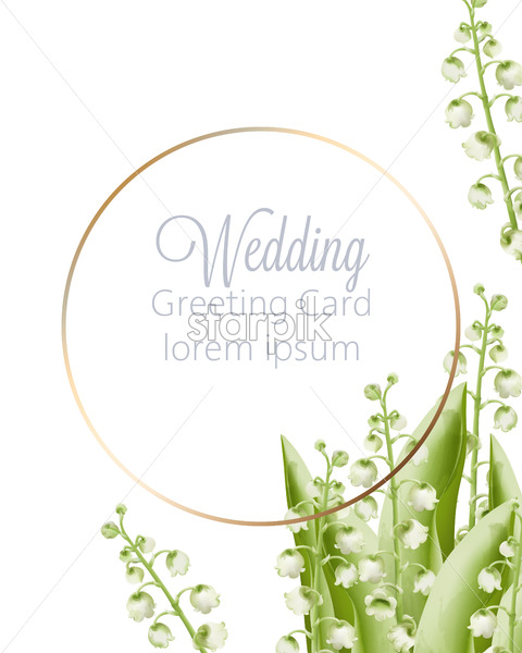 Wedding greeting card with spring bouquet of green watercolor bell flowers with leaves. Place for text Vector - Starpik Stock
