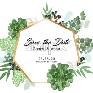 Wedding invitation card in form of hexagon with floral decorations and berries. Place for text. Vector - Starpik Stock