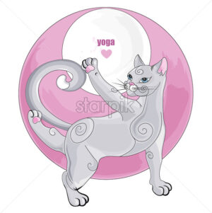 White cat meditating in yoga pose with rose abstract element on background. Vector set - Starpik Stock