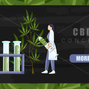 Woman in laboratory making a research on cannabis with big syringe and chemistry tube with cbd extract. Black background Vector - Starpik Stock