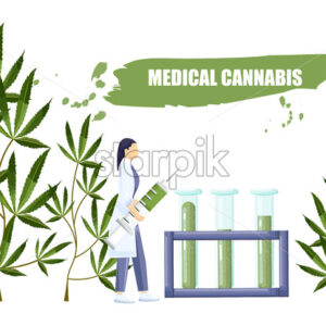 Woman in laboratory making a research on cannabis with big syringe and chemistry tube with cbd extract. Vector - Starpik Stock