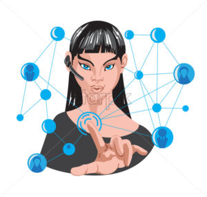 Woman making internet connection around her using one finger. 5G network. Wireless headset. Vector - Starpik Stock
