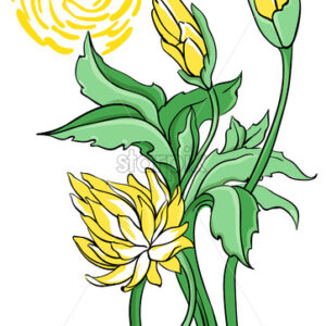Yellow abstract lotus flower with green leaves and stem. Vector - Starpik Stock