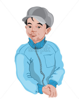 Young boy in white shirt posing. Black hair. Drawing. Vector - Starpik Stock