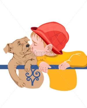 Young boy kid kissing a dog. Colorful red and yellow clothes - Starpik Stock
