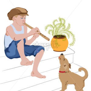 Young boy sitting on stairs and singing on pipe with his dog. Vector - Starpik Stock