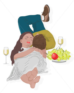 Young couple having a romantic meeting. Drinking wine with grape and apple. Laying on floor. Vector - Starpik Stock