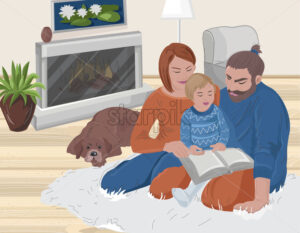 Young family reading with their kid a book. Cozy home atmosphere with sleeping dog and fireplace. Vector - Starpik Stock