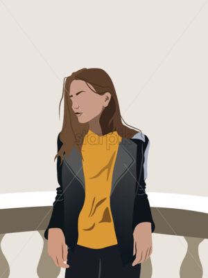Young girl in yellow t-shirt and leather jacket leaning on ceramic railing. Vector - Starpik Stock
