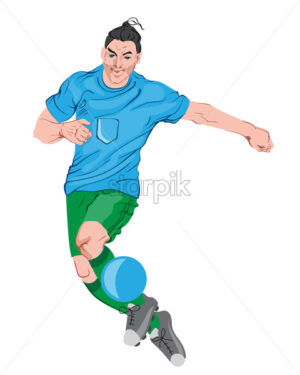 Young man playing football. Colorful clothes and boots. Vector - Starpik Stock