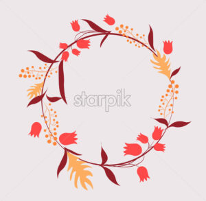 Abstract circle that consists of tulips, leaves and twigs. Vector - Starpik Stock