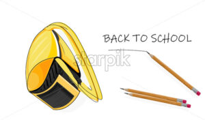 Back to school composition with bright yellow futuristic backpack and set of pencil. Vector - Starpik Stock