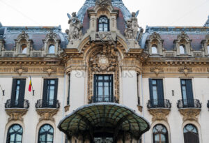 Beautiful facade of the Cantacuzino Palace in the city of Bucharest, Romania - Starpik Stock