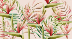 Bird of paradise flower and tropical leaves pattern. Watercolor. Vector - Starpik Stock
