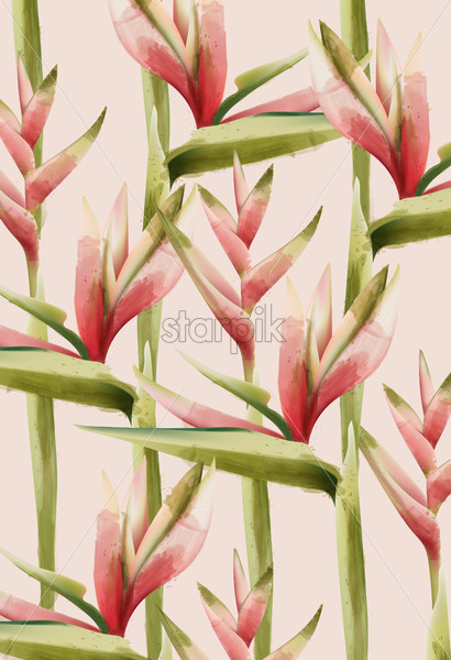 Bird of paradise flower pattern. Green and red palette. Watercolor. Vector - Starpik Stock