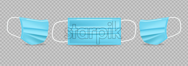 Blue protection mask Vector realistic. Advertise banner 3d illustration isolated - Starpik Stock