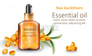Bottle of sea buckthorn essential oil with place for text. Vector - Starpik Stock