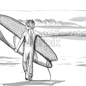 Boy with a surfing board walking to the sea. Line art. Vector - Starpik Stock