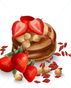 Buckwheat pancakes with strawberry fruits and nuts Vector. Tasty healthy breakfast - Starpik Stock