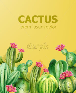 Cactus pattern on yellow background with place for text. Cactus with flower. Vector - Starpik Stock