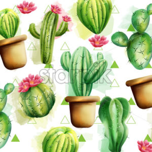 Cactus pattern with green triangles in background. Cactus with flowers. Vector - Starpik Stock