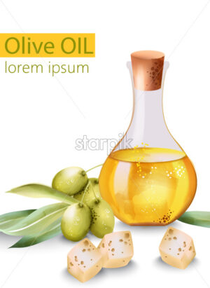 Carafe filled with olive oil surrounded by cheese and olives, with place for text. Vector - Starpik Stock