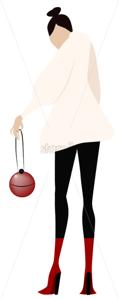 Cartoon drawing of a fashion dressed woman with a red purse. Vector - Starpik Stock